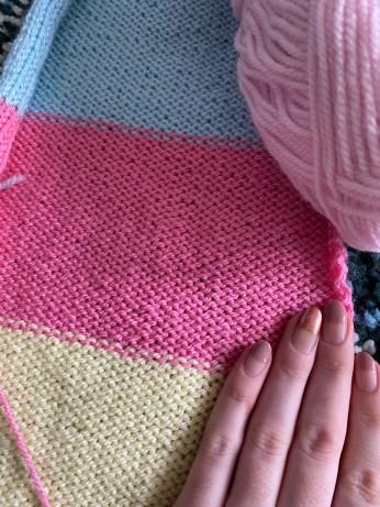 Battenberg Baby Knit Hat Pattern Reverse Side