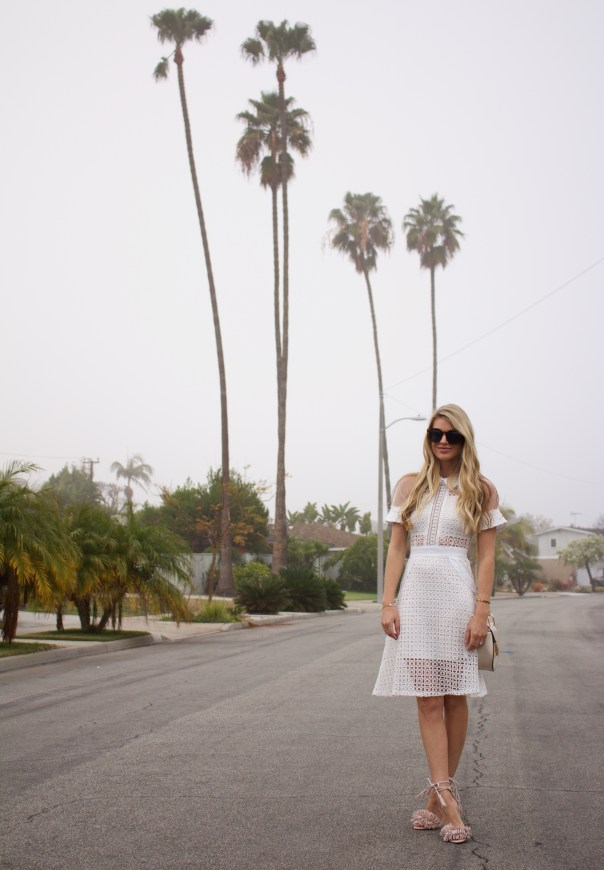 white mesh lace dress