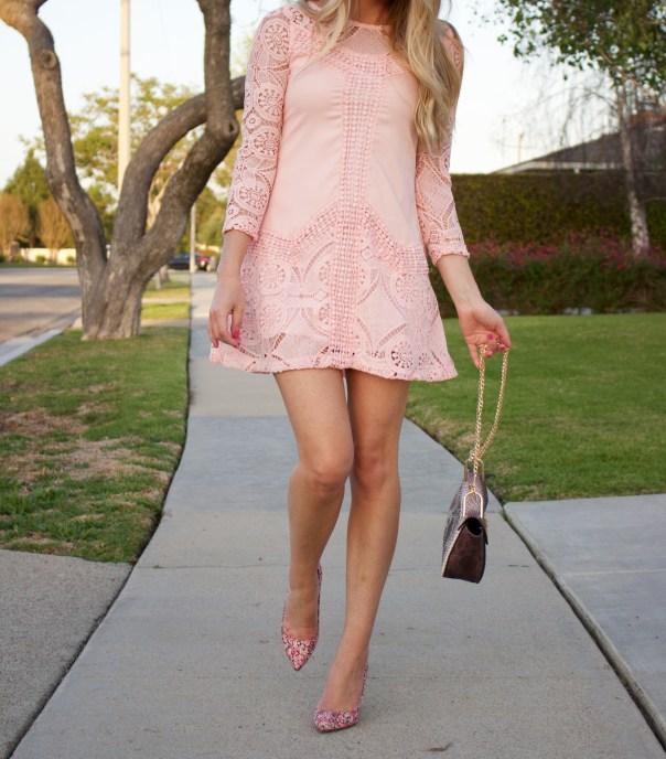 pink crochet dress