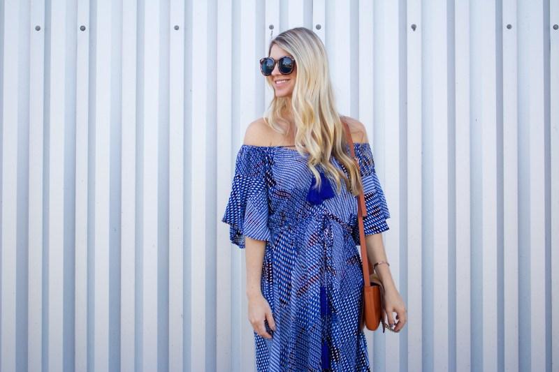 blue off the shoulder maxi dress