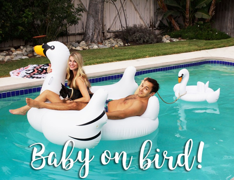 pool float baby announcement