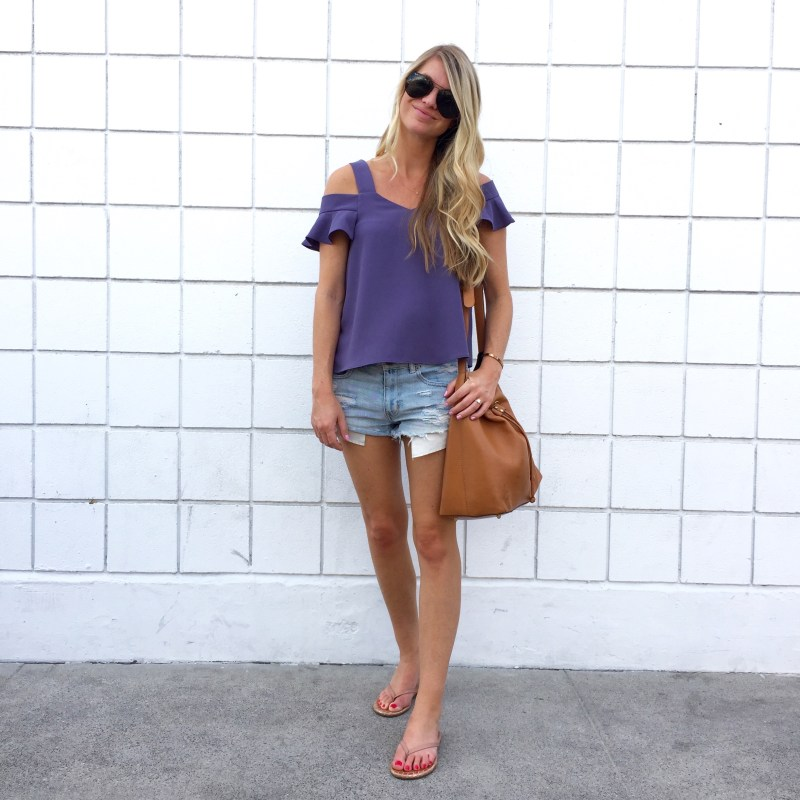 cold shoulder top and cutoffs