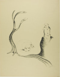 Heinrich Hoerle, 1895-1936. The Tree of Longing, from Krüppel, 1920. Lithograph in black on tan wove paper, 440 x 365 mm (image); 591 x 460 mm (sheet). Margaret Fisher Endowment Fund