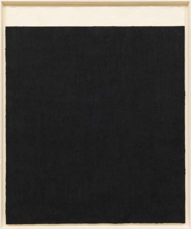 Elevational Weights, Black Matter, 2010. Paintstick on handmade paper, 82 x 68 inches (208.3 x 172.7 cm)