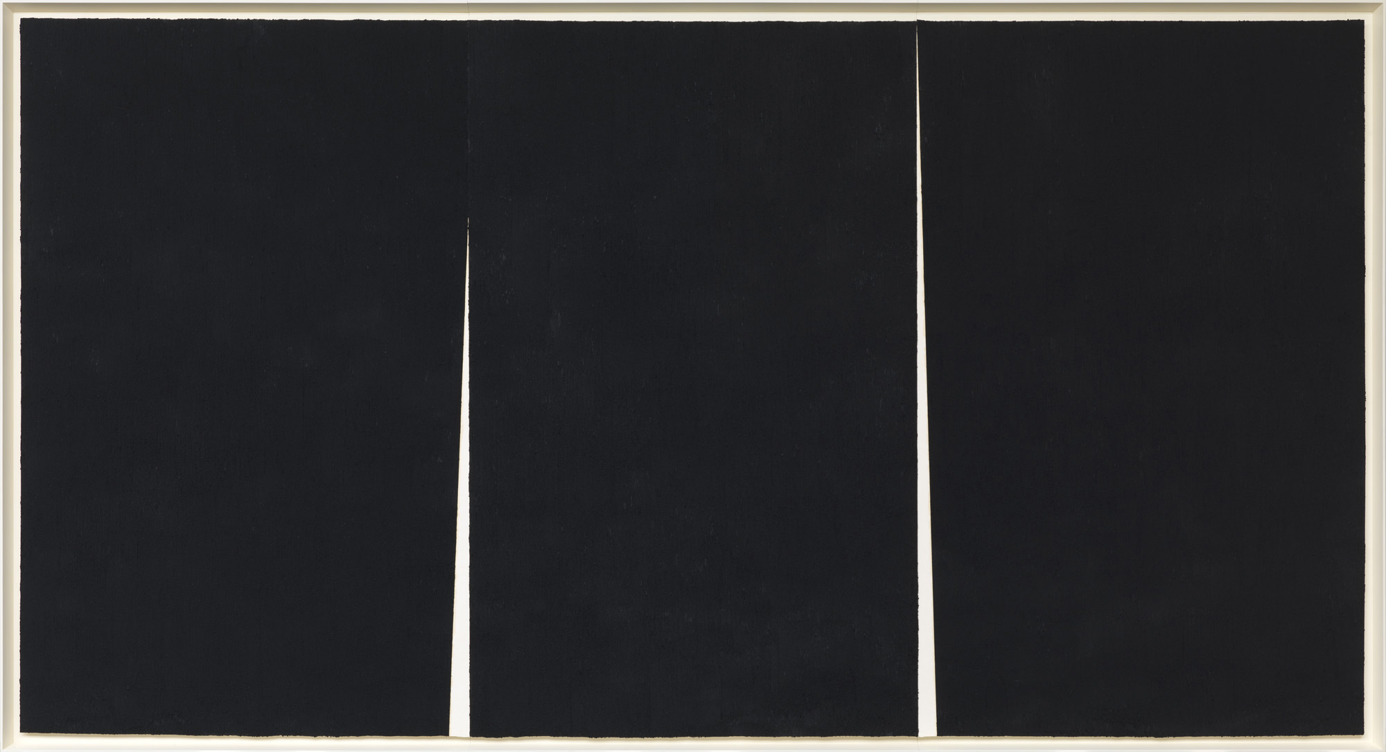 Double Rift #5, 2012. Paintstick on handmade paper, 114 x 211 1/2 inches (289.6 x 537.2 cm)