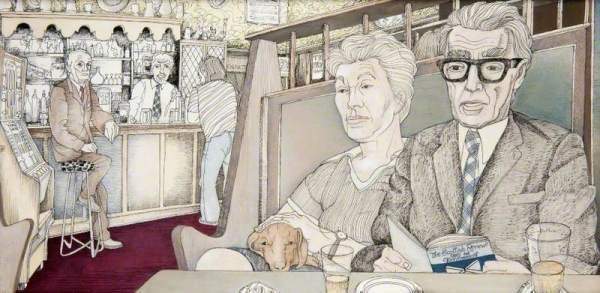 Alex Scott in the 'Pewter Pot' Pub. Date painted: 1977. Acrylic & ink on paper, 31 x 61 cm. Collection: Glasgow Museums