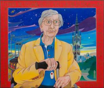 Edwin Morgan (1920–2010), Poet. Date painted: 2003. Pencil, pen, acrylic & oil on board, 53 x 62 cm. Collection: Hunterian Art Gallery, University of Glasgow