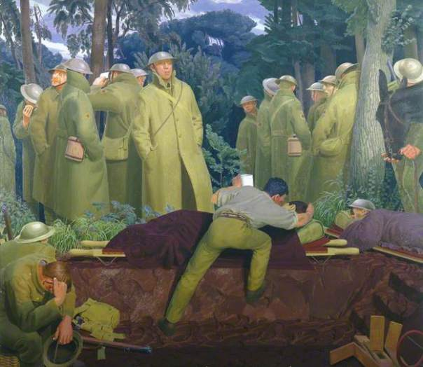 Henry Lamb, Advance Dressing Station on the Struma, 1916. Date painted: 1921. Oil on canvas, 183.6 x 212.3 cm. Collection:  Manchester City Galleries