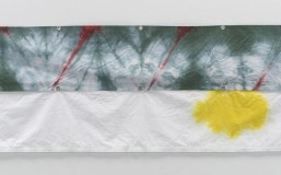 Walking on Air (2009), Cotton with Rit dyes, grommets, thread 2x panels, overall installed: 1ft 11 inches x 10ft 4.75 inches/58.4 x 316.8 cm. Photograph by Kerry Ryan McFate, courtesy Pace Gallery Image Richard Tuttle, courtesy Stuart Shave/Modern Art, London and Pace Gallery, New York