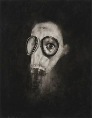 """Helmets & Gasmasks, conté sur mylar / conté on mylar, 35.5 x 28 cm / 14 x 11"""""""