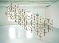 """Robert Orchardson. """"Symmetriad"""", Sapeli wood, 400 x 220 x 2 cm, 2004."""