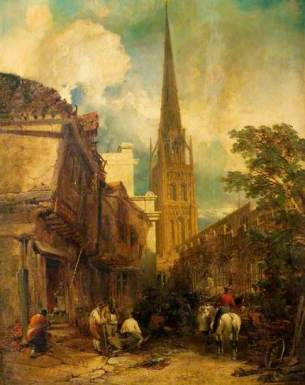 """Bayley Lane, with Drapers Hall and St Michael's Church, Coventry"" by Edmund John Niemann. Date painted – 1851. Oil on canvas. 127 x 101.7 cm. Herbert Art Gallery & Museum"