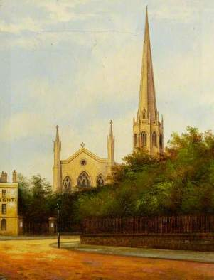 """Christ Church (Greyfriars), Coventry"" by Annie Laurie Gilbert (attributed to). Oil on canvas. 25 x 19.5 cm. Herbert Art Gallery & Museum"