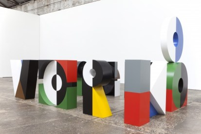 "Emily Floyd. ""Workshop"", 2012, Steel, 2-part epoxy paint, Ferrador, Dimensions variable; each letter approx. 150 x 150 x 40 cm. Courtesy of the artist and the Anna Schwartz Gallery, Sydney and Melbourne"