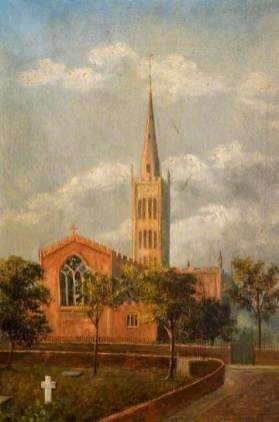 """""""Holy Trinity Church and Churchyard, Coventry"""" by M. E. Colledge. Oil on canvas. 45.7 x 30.5 cm. Herbert Art Gallery & Museum"""