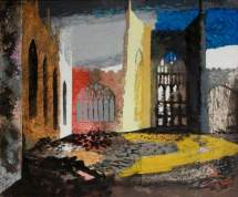 """""""Interior of Coventry Cathedral, 15 November 1940"""" by John Piper. Date painted – 1940. Oil on canvas laid on board. 51 x 61 cm. Herbert Art Gallery & Museum"""