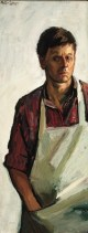 Peter Coker. Self-Portrait , 1966, oil on board, 37.5 x 14.5 cm 14 3/4 x 5 3/4 in