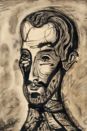 Cecil Collins. Self-Portrait, 1949, pen and ink and brush on paper
