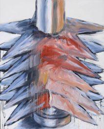 Liu Shaojun. FIVE-POINTED STAR ACROSS THE STEEL TUBE. 2010. Acrylic on canvas. 150 x 120 cm