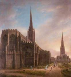 """""""St Michael's and Holy Trinity Churches from the North East, Coventry"""" by David Gee. Date painted – 1849. Oil on canvas. 80.5 x 72.5 cm. Herbert Art Gallery & Museum"""