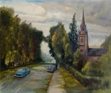 """St Thomas's Church, Keresley, Coventry"" by Arthur Joseph Keene. Date painted – 1970. Oil on canvas. 65 x 75.5 cm. Herbert Art Gallery & Museum"