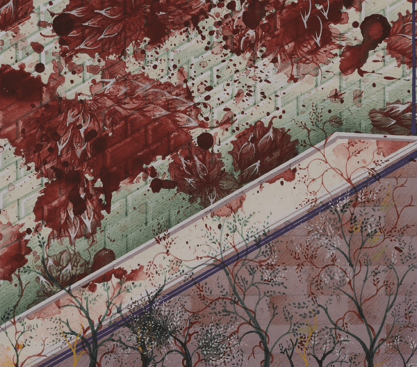 Opening word of this new scripture (detail) (2013). Gouache and gold leaf on wasli paper 38 × 57cm. Courtesy Corvi-Mora, London.