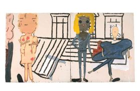 Rose Wylie. PV WINDOWS AND FLOORBOARDS. 2012. Oil on canvas, 181 x 334.5 cm
