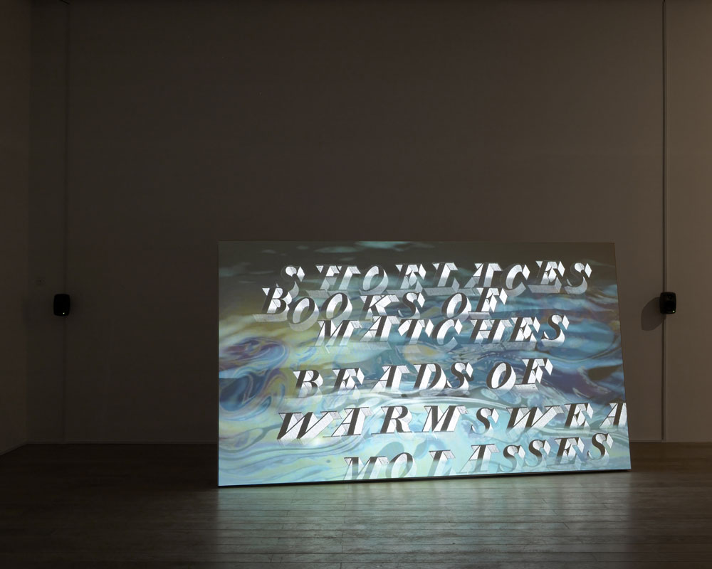 Installation shot of Watery Rhymes, 2014. Courtesy of the artist and Galerie Zak, Branicka, Berlin. Photo by Andy Keate.