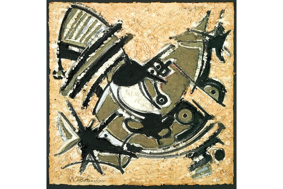 Umberto Mastroianni, Yellow, Black and White, 1965. Tempera on scratched card, 72 x 72cm. Courtesy of Il Cigno GG Edizioni.