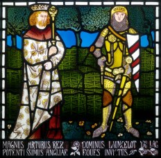 Morris, Marshall, Faulkner & Co 'The Story of Tristram and Isoude', 1862. Panel 13 'King Arthur and Lancelot' designed by William Morris. © Collection of Bradford Museums & Galleries