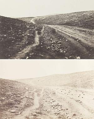 Two images from The Valley of the Shadow of Death, 1854-5. PHOTOS: Roger Fenton