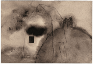 House on a Hill, 2008-9. Watercolour on paper, 15 1/2 x 18 3/4 inches framed