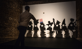 Inquiry Game: Knock Down The Myths, 1969, at the Serpentine. Photograph: Sarah Lee/Guardian