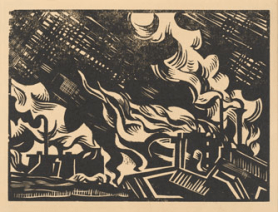 Edward Wadsworth, In the Black Country, 1919, Woodcutprint on paper © Wolverhampton Art Gallery