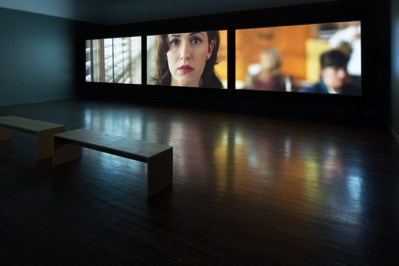 Giant. 2014. Installation view. High Definition Video with Sound Duration: 30min. Synchronized 3-Channel Projection. Aspect Ratio 16:9, Stereo. Installation dimensions variable. Photo: Frederik Nilsen