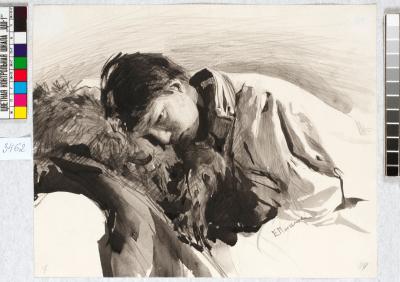 Рисовальные вечера. Лежащий мальчик / Drawing evenings. A boy lying down, c 1889. Watercolour on paper, 22 x 27.3 cm