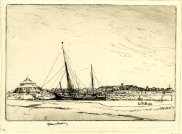 'Southwold, from Walberswick,' 1923. Drypoint, 134 x 194 mm