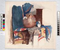 Рисовальные вечера. Флорентийское ведро и пёстрые ткани / Drawing evenings. Florentine pot and colourful fabrics, c 1889. Watercolour on paper, 26.3 x 28.3 cm