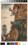 "Иллюстрация к сказке ""Сивка – Бурка"" Богатырский скок / Illustration for the tale ""Sivka-Burka"": The Bogatyr's gallop, c 1887. Watercolour on paper, 17.9 x 12 cm"