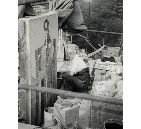 Photograph of Dorothy Annan working on the mosaic panels for King's College Library, Newcastle, 1959 Courtesy of the Estate of Dorothy Annan and Trevor Tennant/Leeds Museums & Galleries (Henry Moore Institute Archive)
