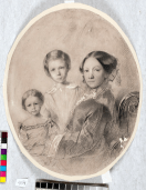 Автопортрет с дочерьми Верой иЕленой / Maria Polenova, self-portrait with daughters Vera and Elena, c 1853. Italian pencil and white paint on paper, 29.3 x 24.5 cm