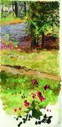 Летний пейзаж. Калитка. Этюд / Summer Lancscape, Garden Gate. 1880s. Oil on canvas, 29.7 x 10.5 cm