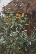 Подсолнухи, этюд / Sunflowers. 1885. Oil on canvas, 25.5 x 17.3 cm