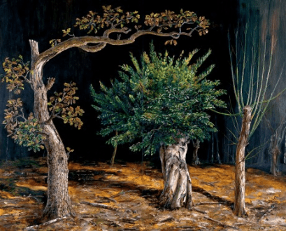 Three Pollards, oil on panel, 2004, Julian Perry