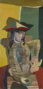 Robert MacBryde: Woman with Cantaloupe, c.1945. Oil on canvas, 126 x 62 cm. Manchester City Galleries