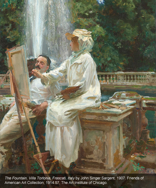 The Fountain, Villa Torlonia, Frascati, Italy, 1907. Oil on canvas  71.4 x 56.5 cm