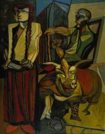Figures in a Farmyard. Robert Colquhoun. 1953. Oil on canvas, 185.4 x 143.5 cm. National Galleries of Scotland