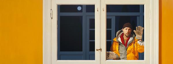 Philip Harris: S.P Behind a Glass Door, 2001. Oil on linen, 132 x 305 cm (unframed). Photograph: John Jones.