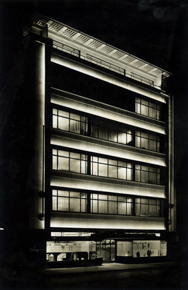 Simpson (Piccadilly) Ltd., 1936. Exterior at night. Joseph Emberton Archive, University of Brighton Design Archives.