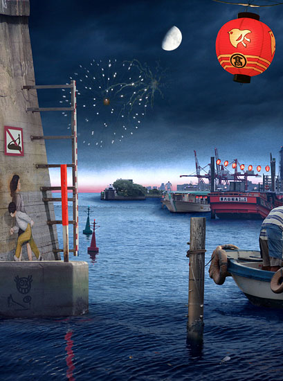 Emily Allchurch: Tokyo Story 3: Night Harbour (after Hiroshige) 2011 Transparency on LED lightbox© Courtesy the artist and LA Noble Gallery